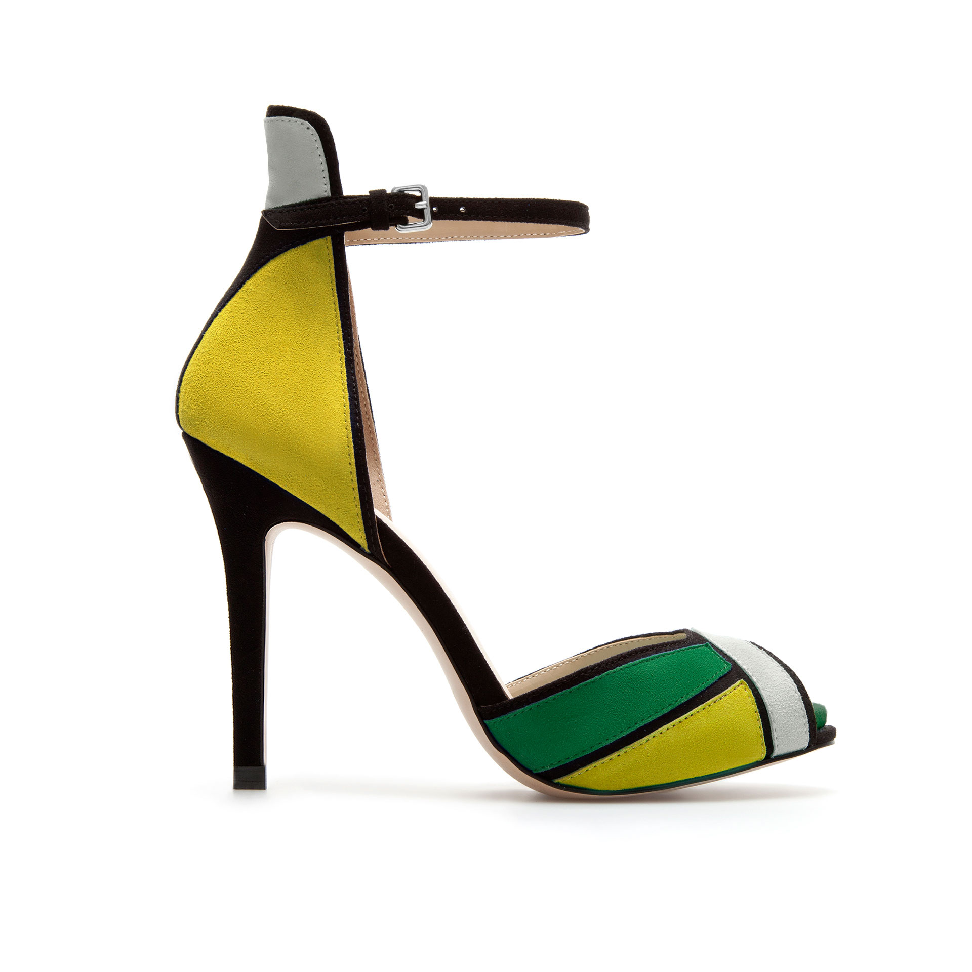 Shoeniverse: ZARA Yellow & Green Ankle Strap Sandal