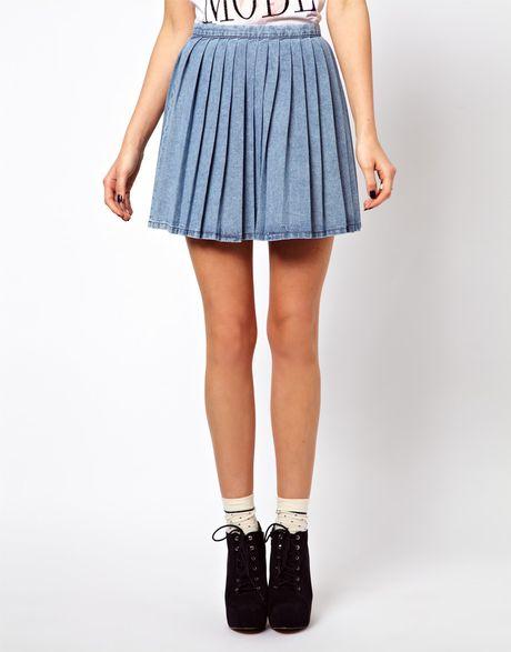 asos pleated denim mini skirt in blue lyst