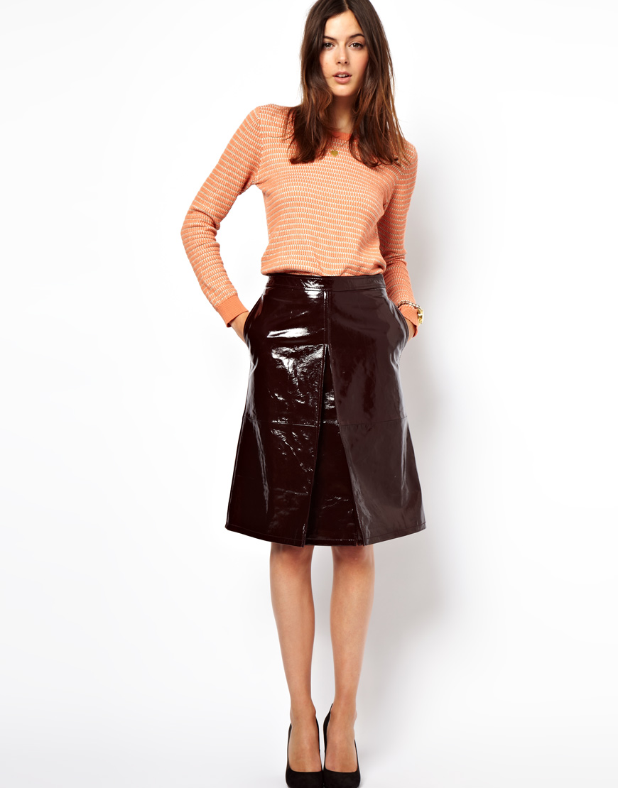 asos a line midi skirt in patent leather in purple lyst