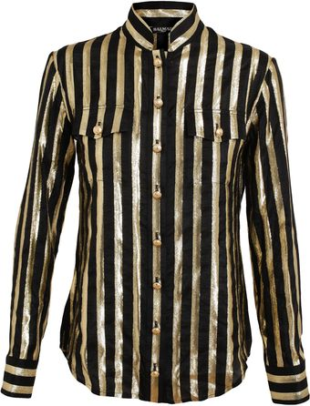 Balmain Striped Silk Lamé Shirt - Lyst