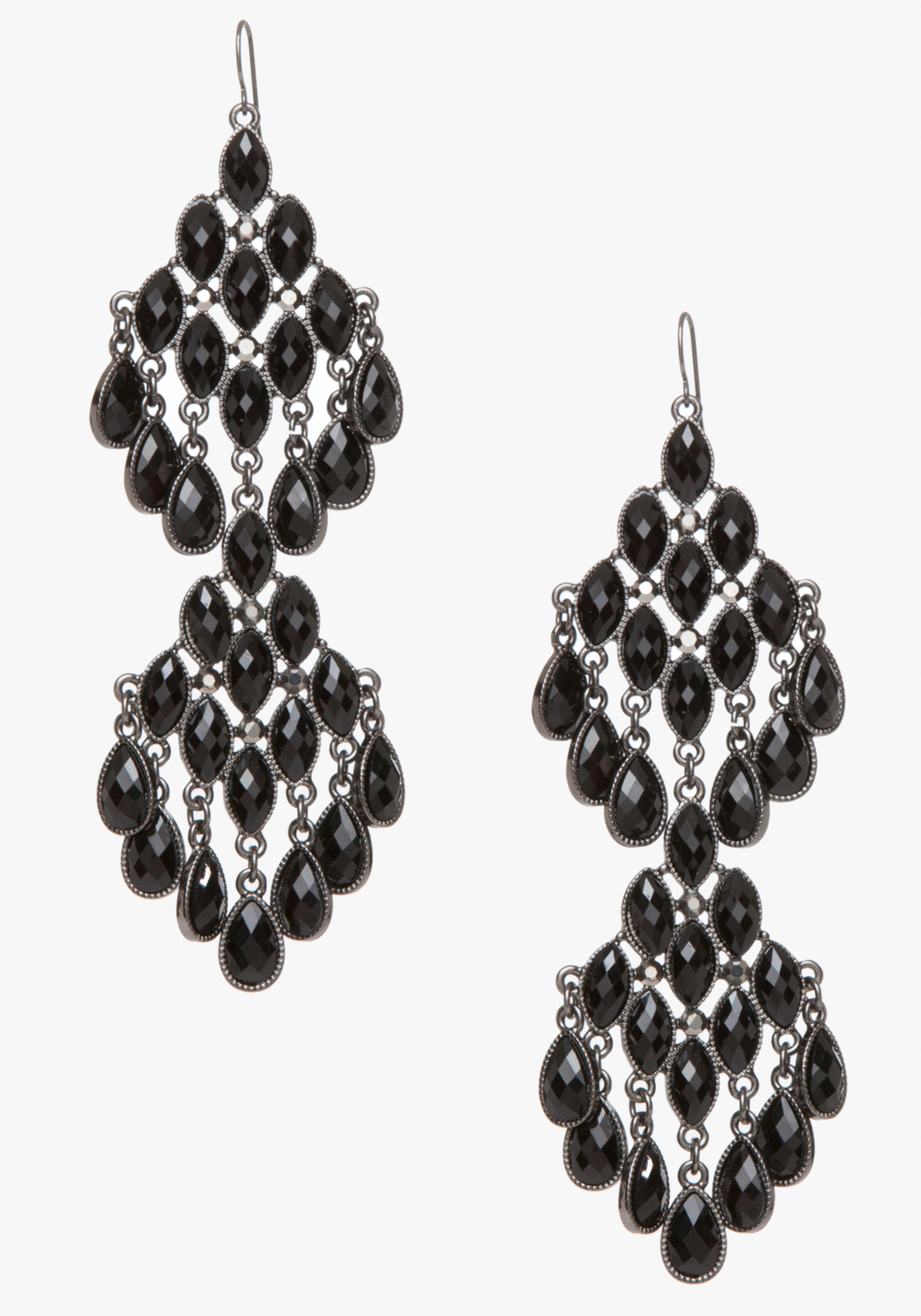 Bebe Faceted Stone Chandelier Earrings in Black | Lyst