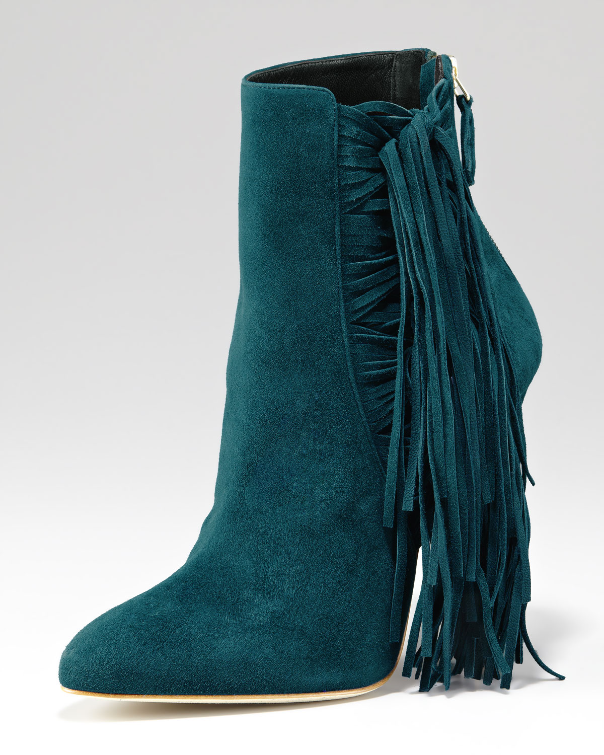 Brian atwood Pipi Suede Fringe Ankle Boot in Blue | Lyst