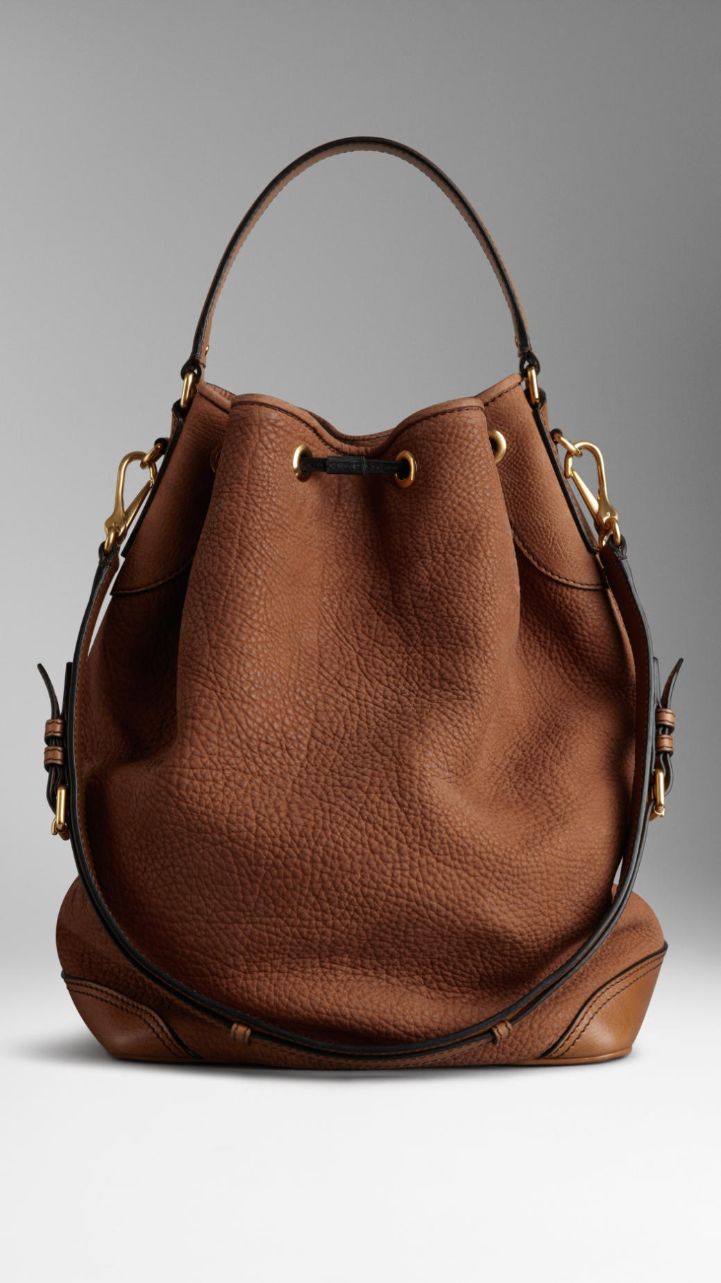 Lyst Burberry Large Nubuck Leather Hobo Bag In Brown
