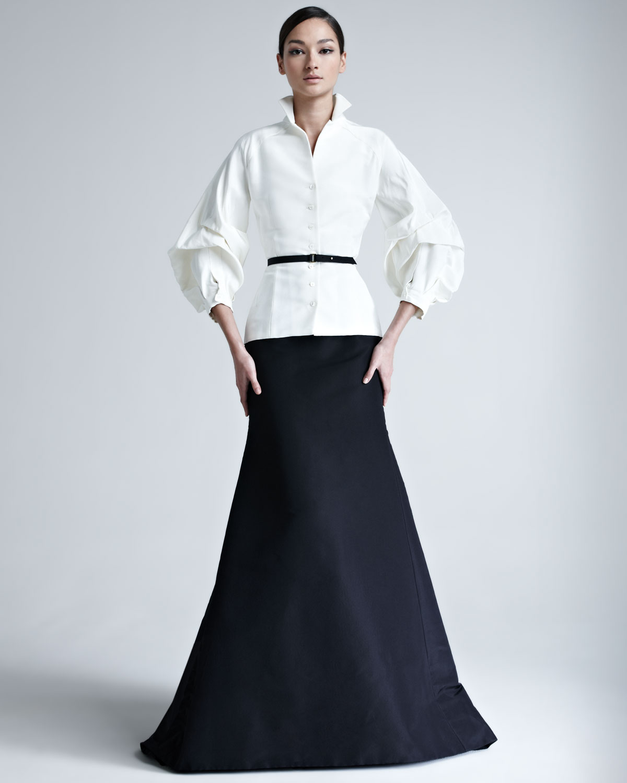 Lyst - Carolina Herrera Womens Silk Faille Skirt in Black