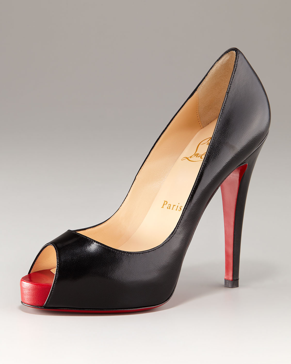 free shipping pre order affordable cheap price Christian Louboutin Leather Peep-Toe Platforms best sale online I75zh8Env