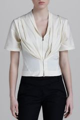 Donna Karan New York Short-sleeve Zip Jacket - Lyst