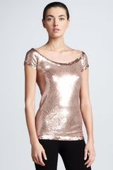 Donna Karan New York Sequined Cap-sleeve Top - Lyst