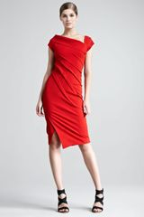 Donna Karan New York Structured Matte Jersey Cap Sleeve Dress - Lyst