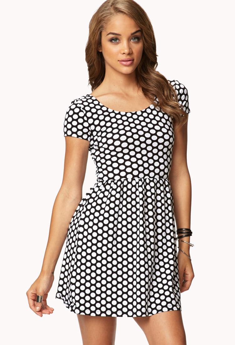 Forever 21 Polka Dot Baby Doll Dress in White Black white