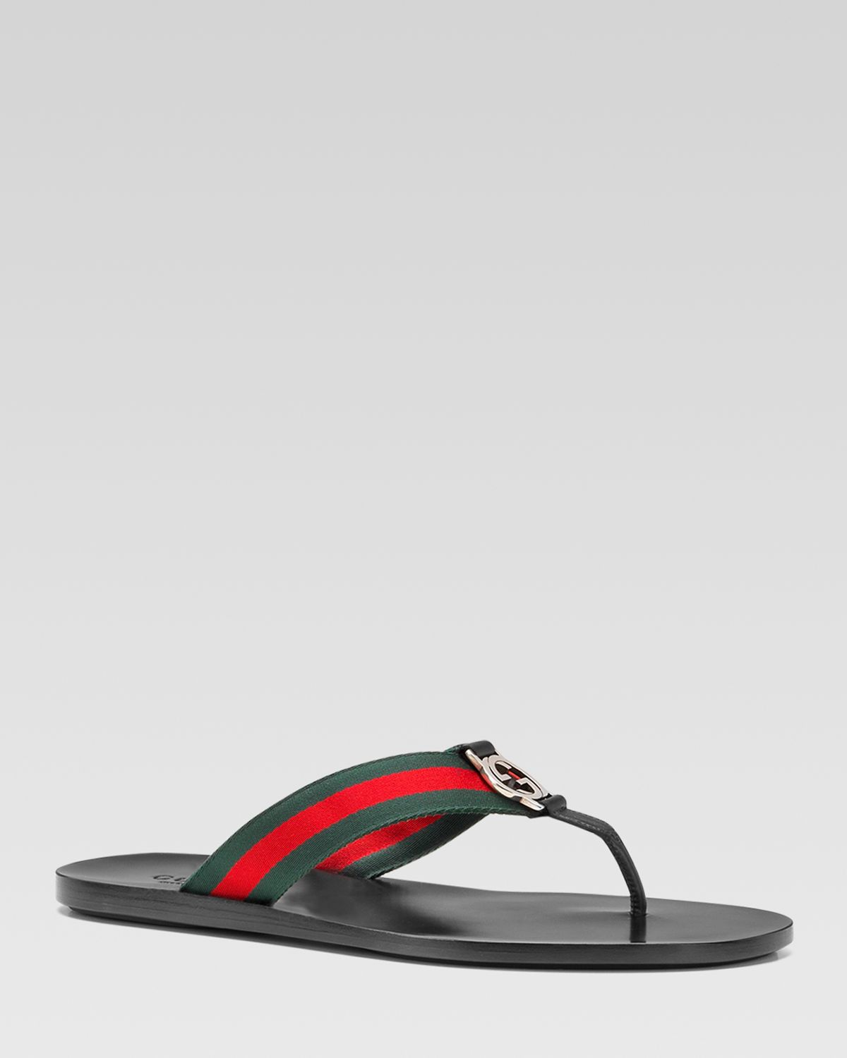 b731aa04160bc2 Lyst - Gucci Gg Line Signature Web Thong Sandals in Black for Men