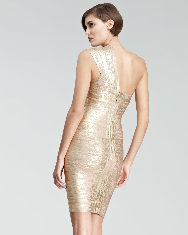 e4e84c8d34d Hervé Léger Womens Oneshoulder Metallic Bandage Dress in Metallic - Lyst