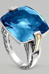 John Hardy Classic Chain Silver London Blue Topaz Ring - Lyst