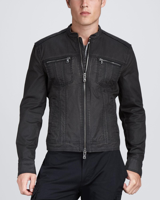 John Varvatos Denim Motorcycle Jacket In Black For Men Lyst
