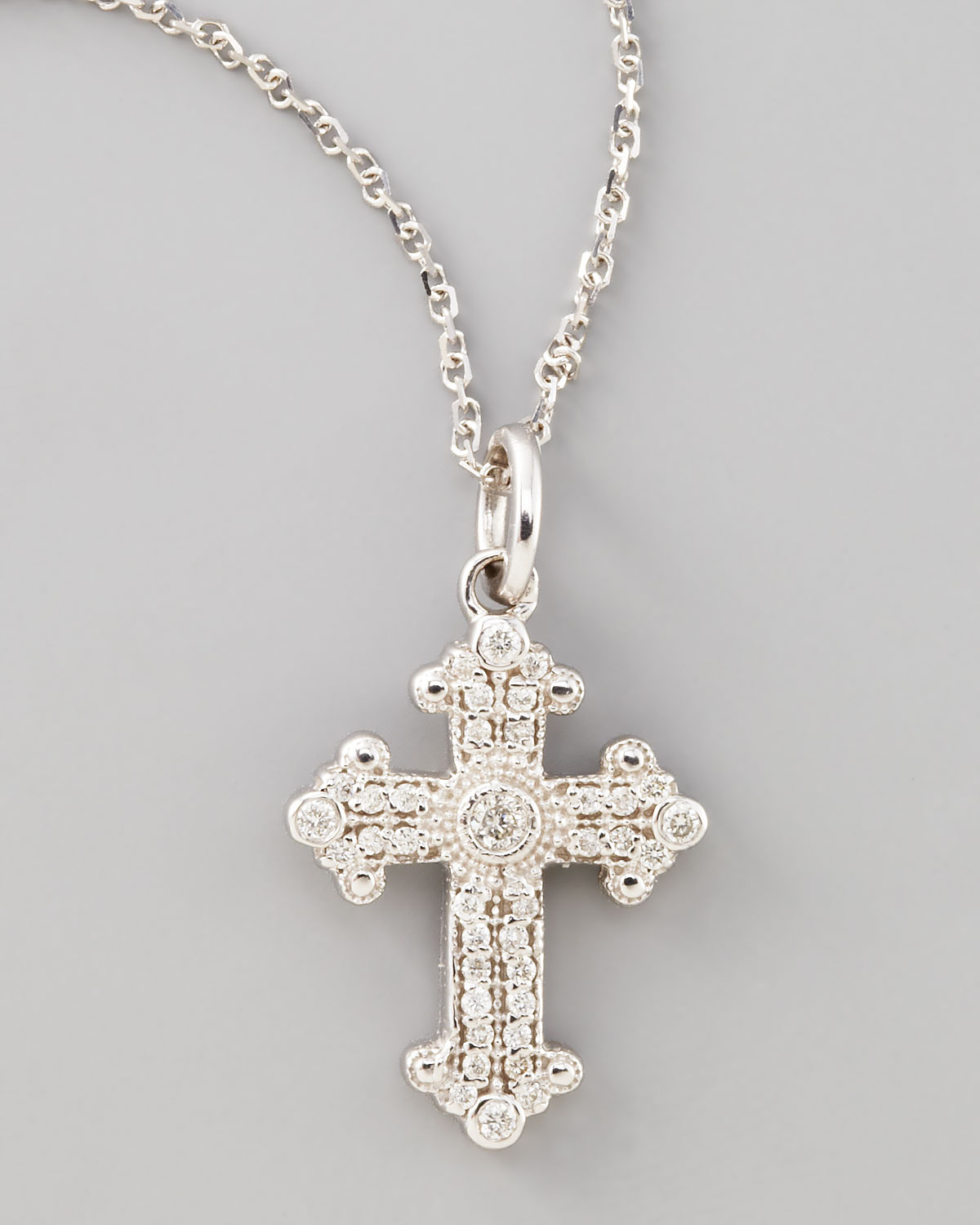 kc designs byzantine cross necklace white gold in metallic