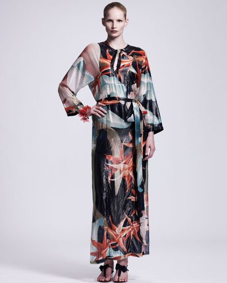 Lanvin Tropicalprint Caftan Maxi Dress in Blue (dark blue)