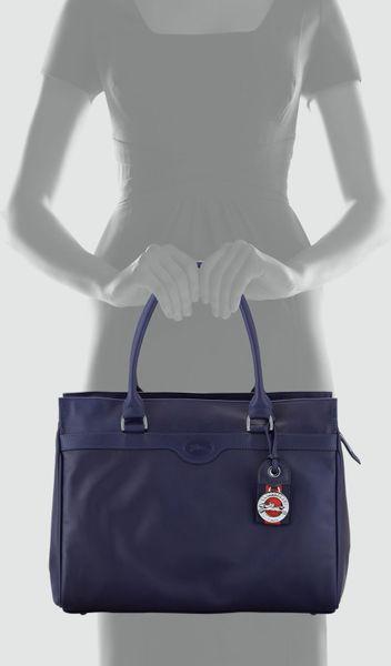 Longchamp Au Sultan Ziptop Tote Bag Navy in Blue (NAVY)