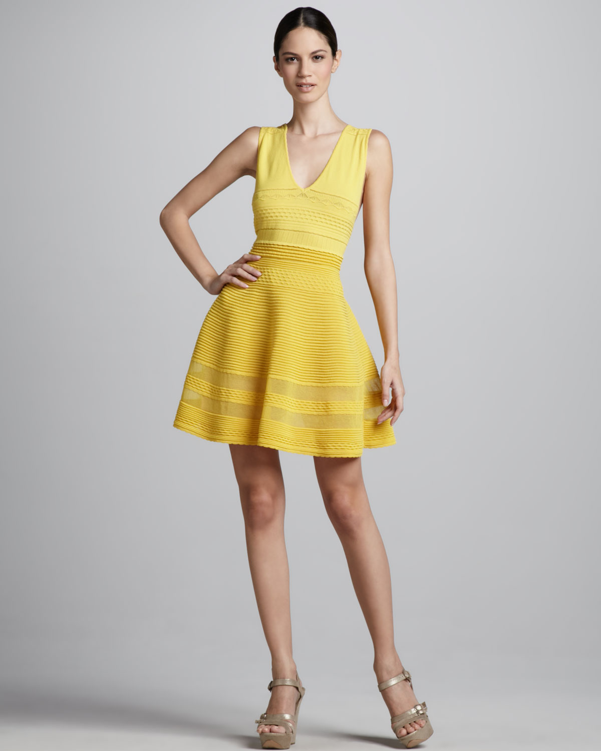 2bb721ad9aa9 Lyst - M Missoni Flouncy Knit Dress in Yellow