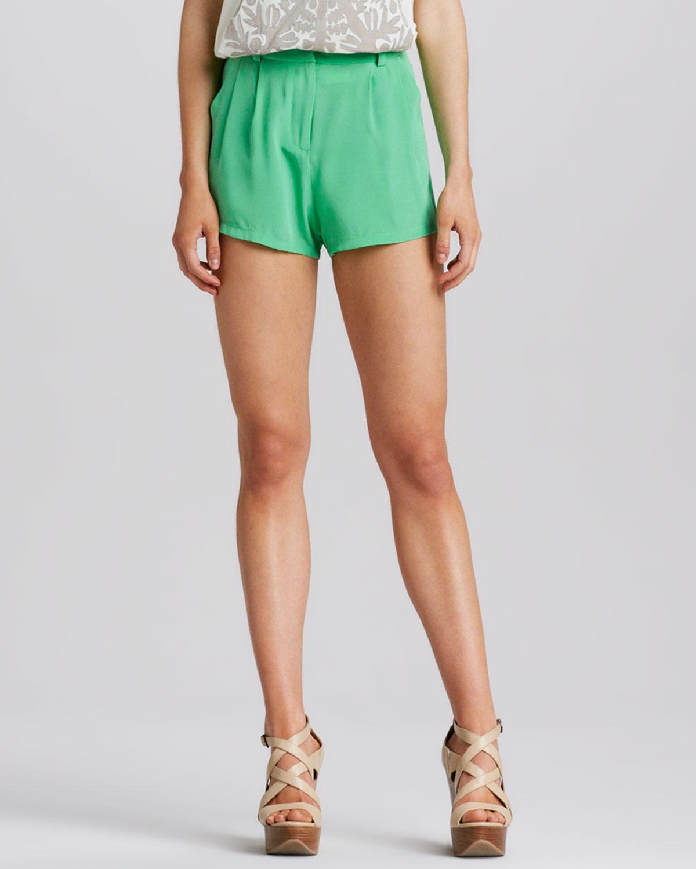 Mara hoffman Womens Highwaist Silk Shorts in Green | Lyst