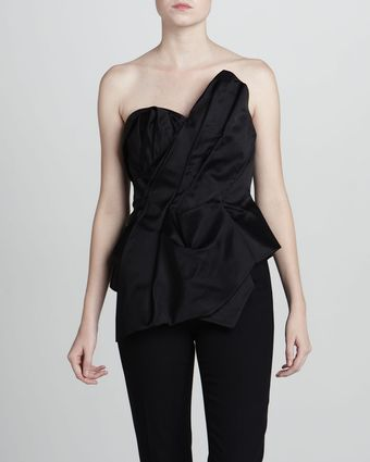 Marchesa Couture Asymmetric Sateen Bustier Top - Lyst