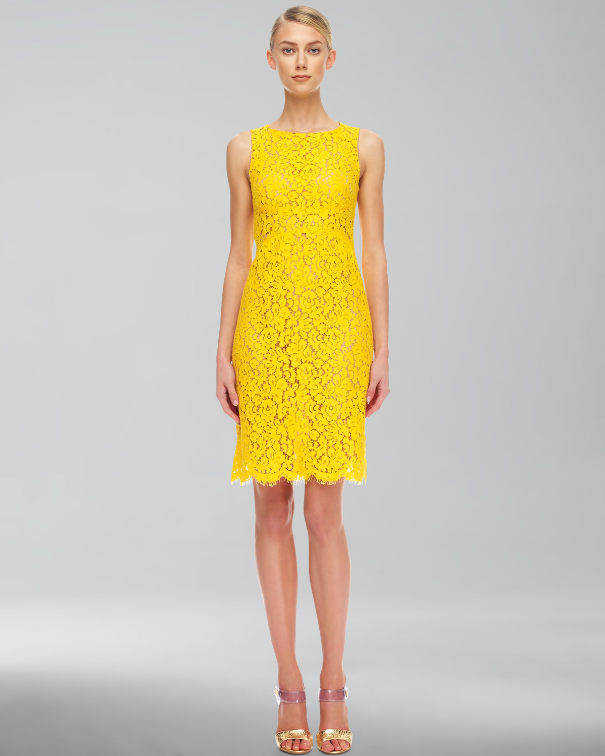 Lyst - Michael Kors Floral Lace Empire Shift Dress in Yellow