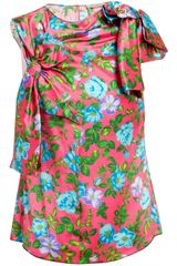 Nina Ricci Bow Detail Floral Printed Silk Top - Lyst