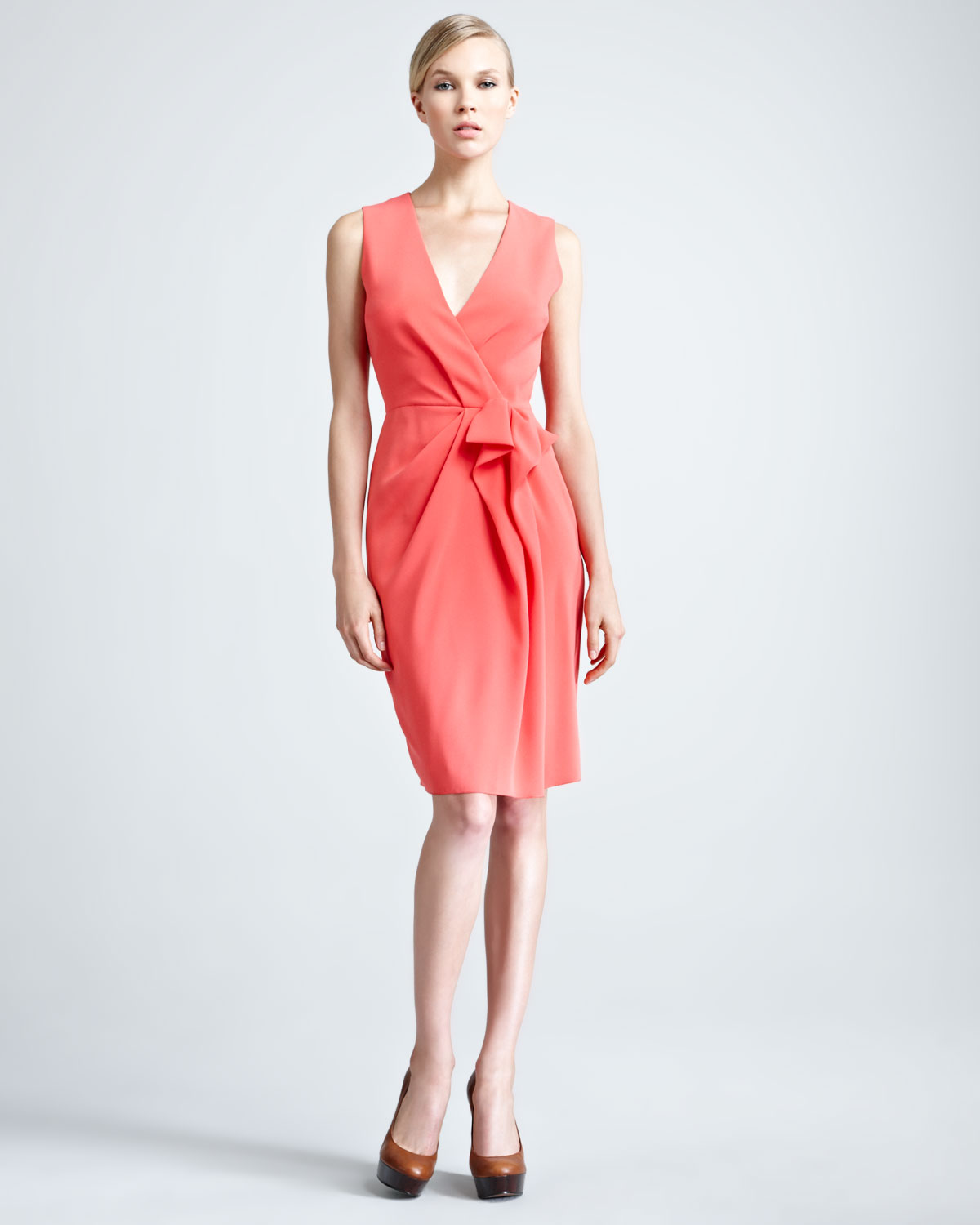 Paule Ka Crepe Back Satin Dress in Pink (CORAL)