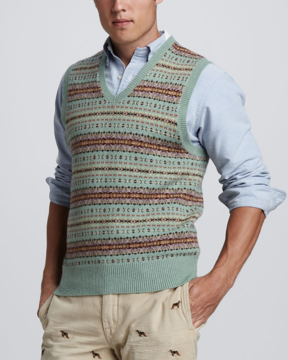 Polo ralph lauren Fair Isle Sweater Vest in Green for Men | Lyst