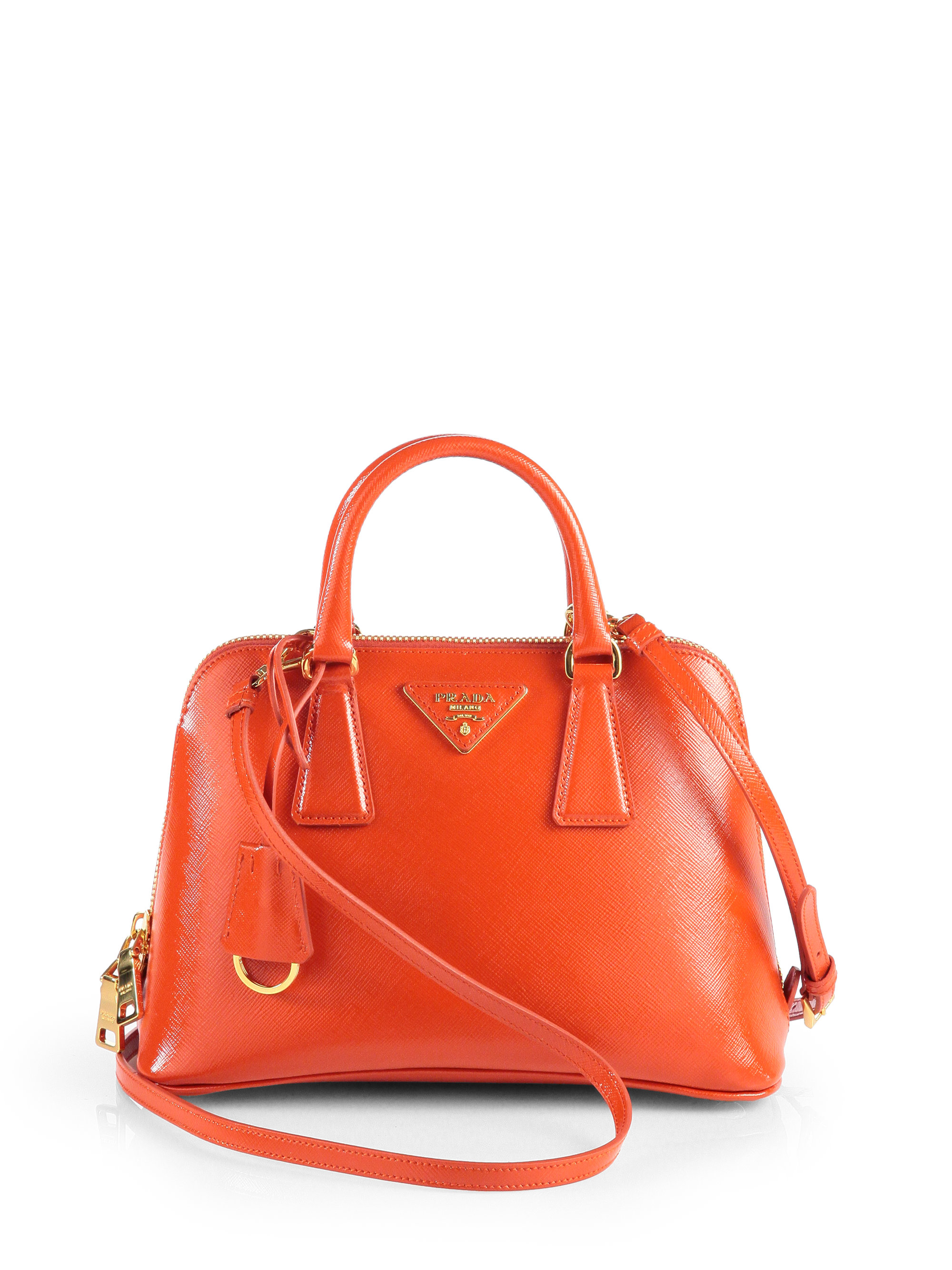 inexpensive prada pyramid canary yellow top handle bag for sale be899  405da  promo code for lyst prada saffiano vernice small round top handle  bag in orange ... 288d755da7a3c