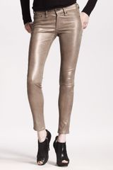 Rag & Bone Womens The Skinny Bronze Leather - Lyst