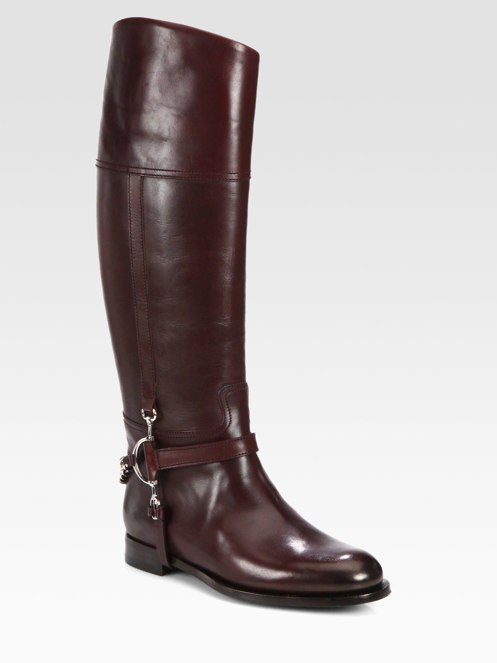 Ralph Lauren Collection Sandra Leather Riding Boots in Red