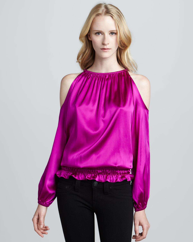 e37b352270019b Lyst - Ramy Brook Lauren Coldshoulder Top in Purple