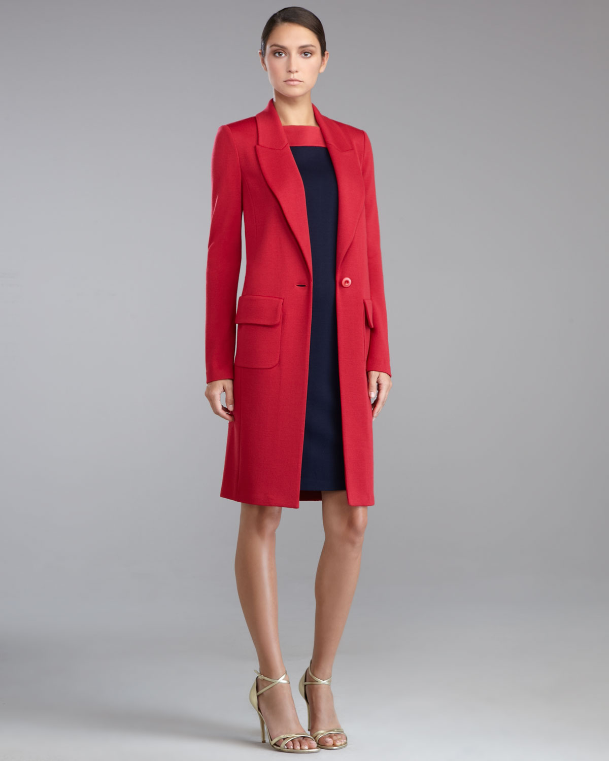Lyst St John Womens Milano Knit Cocoon Jacket Berry In Red
