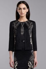 St. John Collection Cascade Jacquard Jacket Caviargold - Lyst