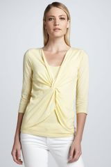 Three Dots Threequarter Sleeve Twistfront Top - Lyst