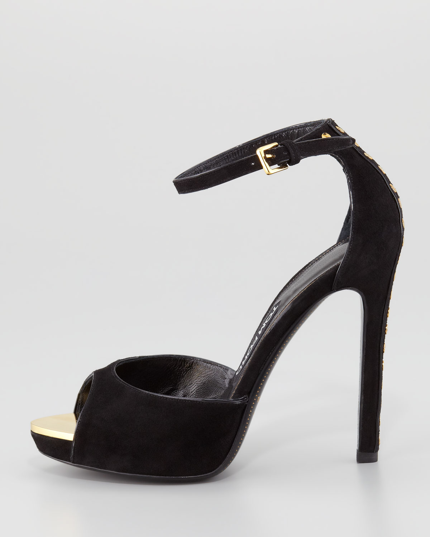 2698179dc Lyst - Tom Ford Screw studded Suede Peeptoe Anklewrap Sandal in Black