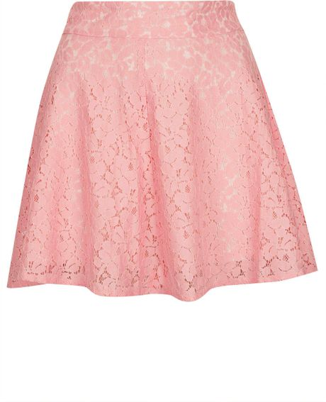 topshop pink high waist lace skater skirt in pink lyst