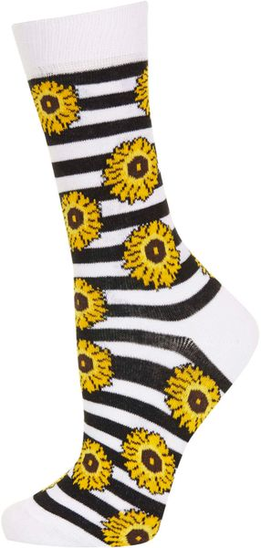 Topshop White Sunflower Ankle Socks In Yellow White Lyst