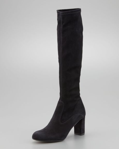 valentino stretch suede knee boot black in black lyst