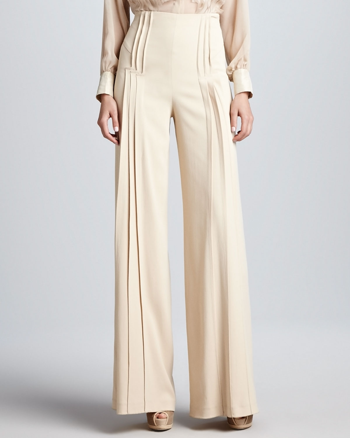 Zac posen Pleated Wideleg Pants Beige in Natural | Lyst
