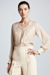Zac Posen V-neck Pleated Blouse Ivory - Lyst