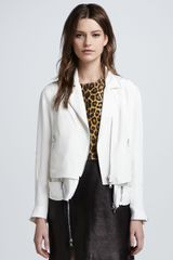 3.1 Phillip Lim Trompe Loeil Layered Silk Moto Jacket White - Lyst