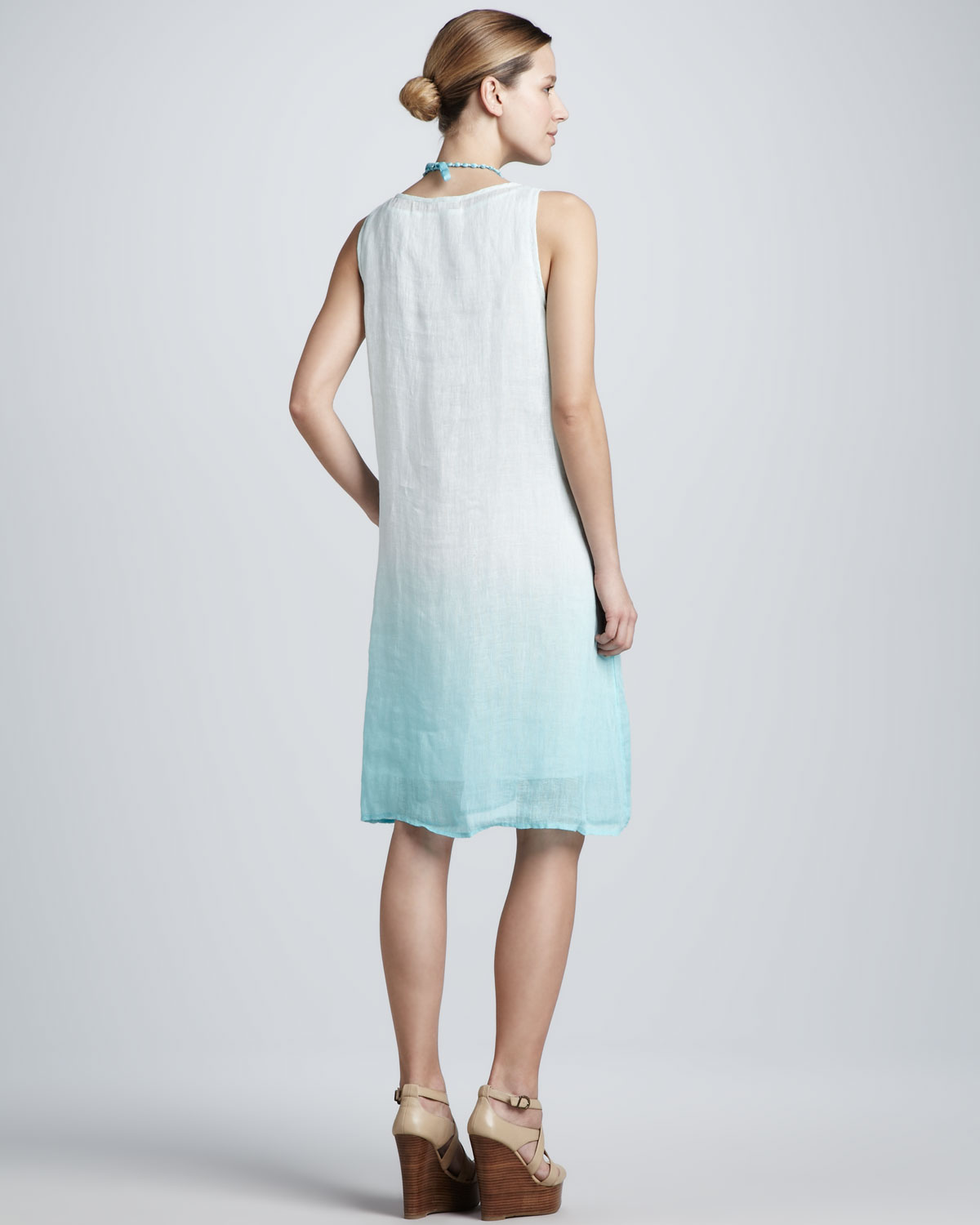 d63cb4f643 Lyst - Eileen Fisher Ombre Layered Linen Dress in Blue