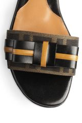 Fendi Leather Jacquard Canvas Slide Sandals in  (BLACK-TAN) - Lyst