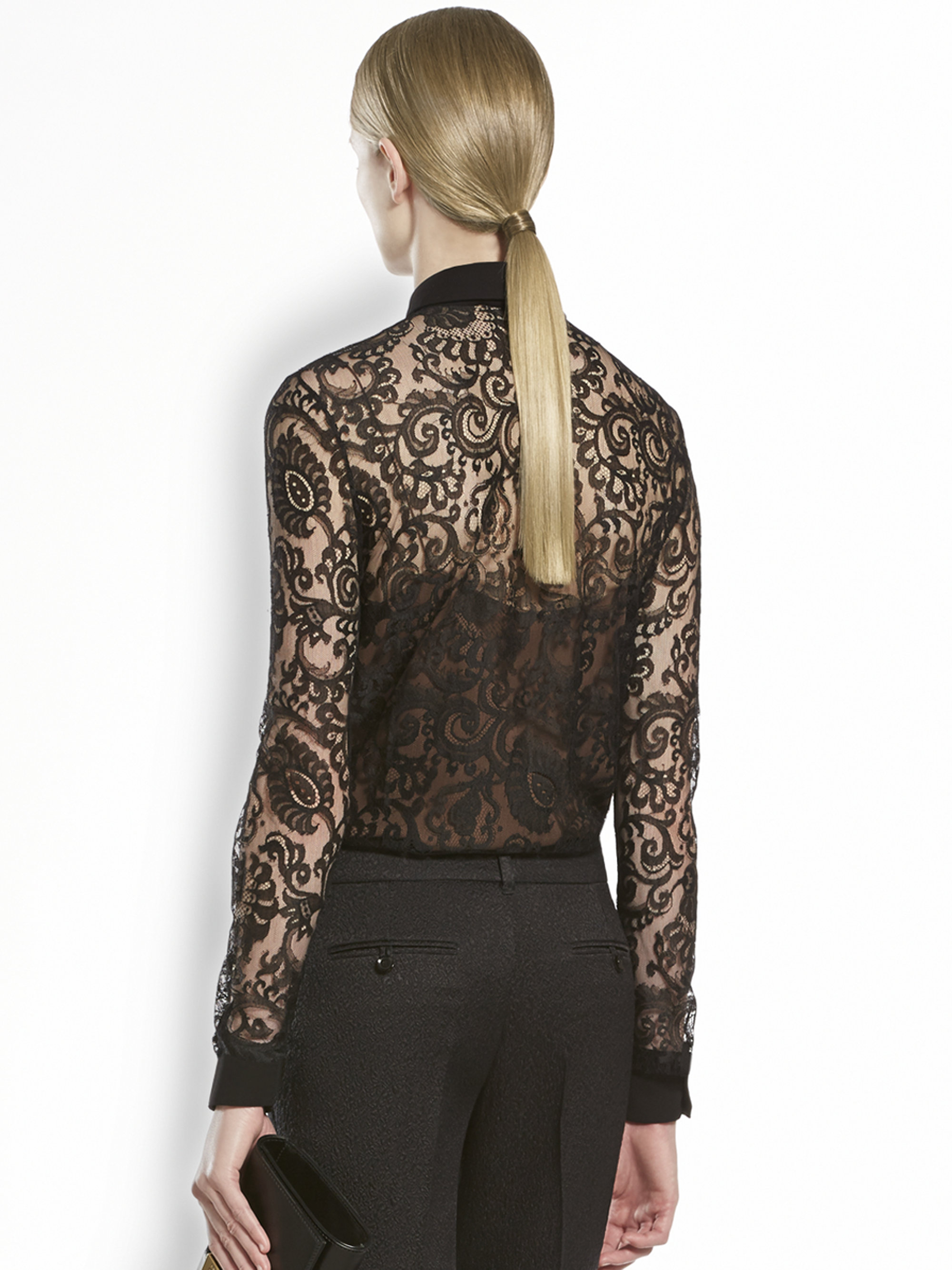 908ca8cf3 Gucci Lace Flower Blouse in Black - Lyst