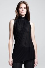 Helmut Lang Sleeveless Leather-neck Top - Lyst