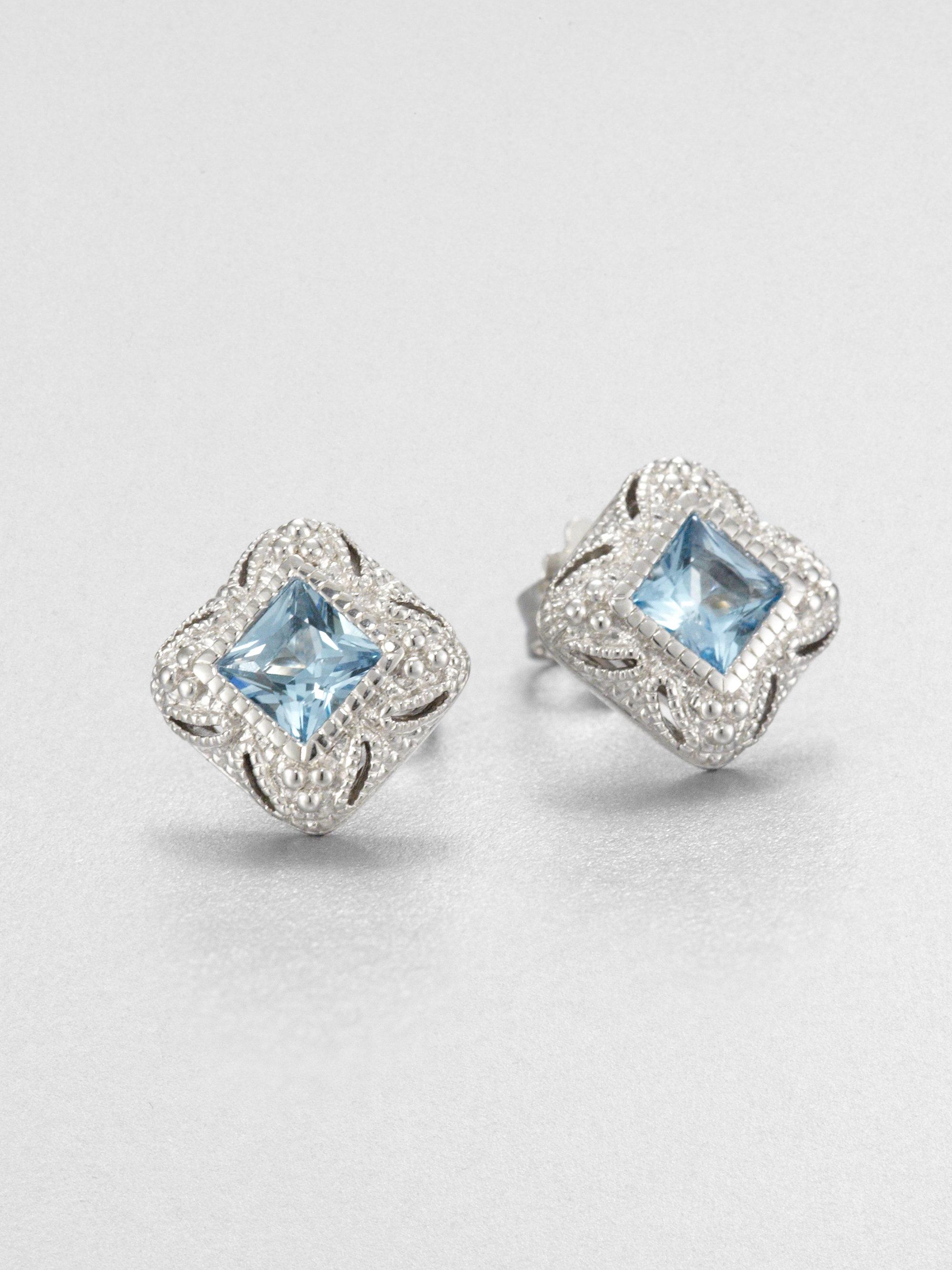 judith ripka estate blue topaz sterling silver stud. Black Bedroom Furniture Sets. Home Design Ideas