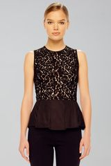 Michael Kors Womens Lace Peplum Top - Lyst