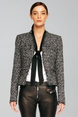 Michael Kors Womens Fringetrim Tweed Jacket - Lyst