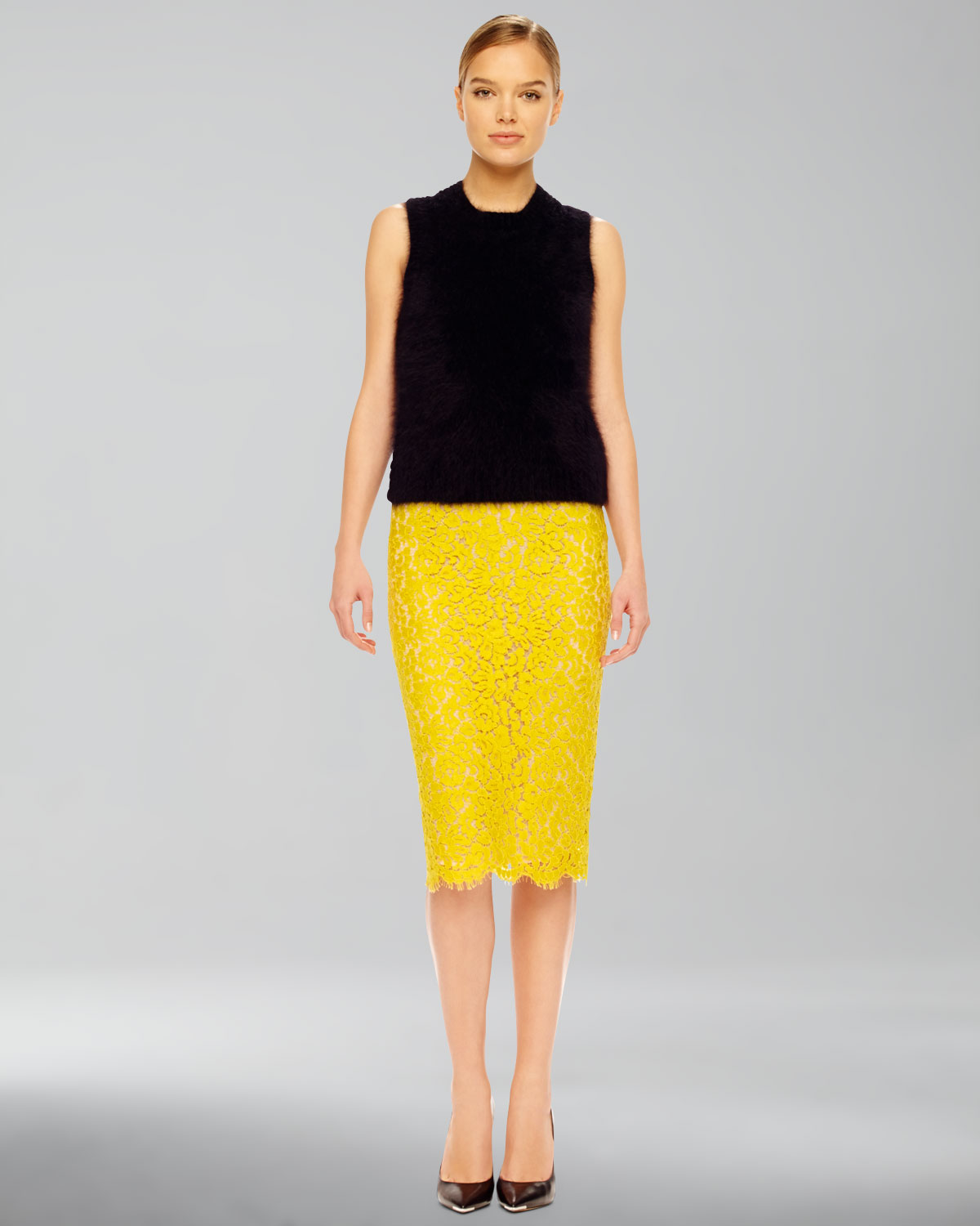 michael kors lace pencil skirt in yellow lyst