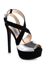 Prada Suede Metallic Leather Platform Sandals - Lyst